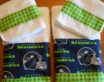 Matching Terry Cloth Hand Towels & Washcloths with Seattle Seahawks Print