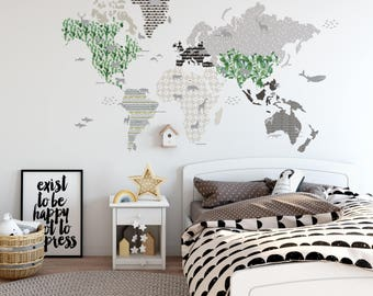 WALLSTICKER MAP 5 BROWN