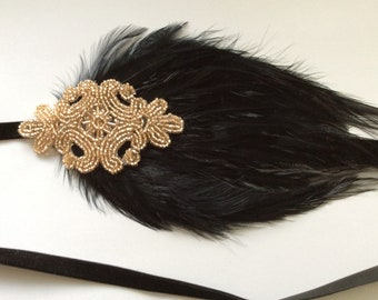 Beaded Headpiece, Flapper Feather Headband, Flapper Beaded Headpiece, Flapper Hair, Gatsby Hair Piece, 1920s hair accessories