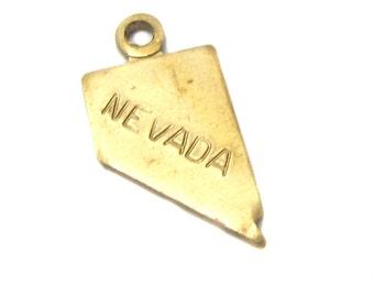 Tiny Raw Brass Nevada State Charms (6X) (A427-A)