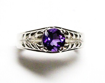 """Amethyst, amethyst ring, birthstone ring, solitaire ring, purple ring, purple, s 7 """"Crazy about you"""""""