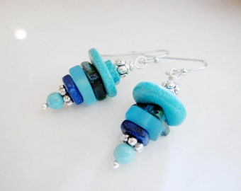 Blue Sea Glass and Ceramic Earrings, Greek Beads, Silver, Stack Earrings, Beach Jewelry, Bohemian,Redpeonycreations