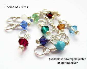 SINGLE Swarovski Crystal Birthstone Charm, Prewired Charms, Add A Dangle - 4mm or 6mm - Silver Plated OR Gold Plated OR Sterling Silver