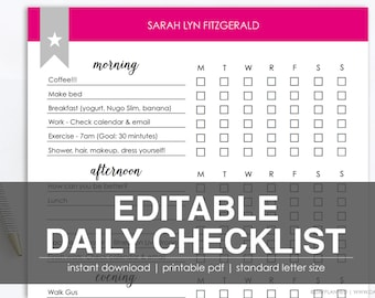 EDITABLE CHORE CHECKLIST | Printable Task List | Instant Download by DayPlanned.com