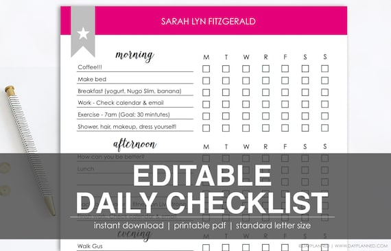 Editable Daily Checklist Printable Task List Instant