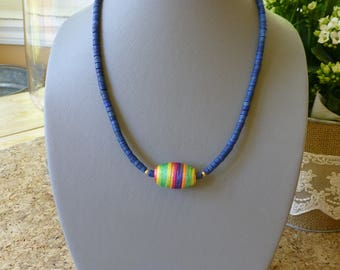 Necklace, blue coconut beads