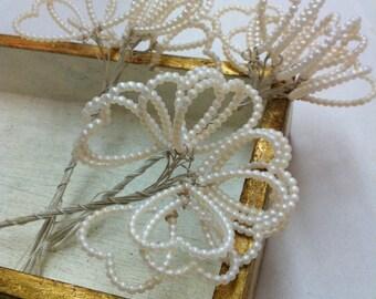 Valentine Hearts Millinery Decoration Old Stock Favor Veil Bouquet Tiara Crown Love Edwardian French Marie Antoinette Versailles