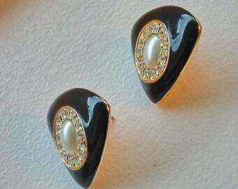 Signed Sarah Coventry Earrings, Black Enamel Faux Pearl Clear Rhinestones