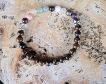 12 Chakra, beaded bracelet, crystal healing, anxiety, gift, Bronzite, Pyrite, Rutilated Quartz, Blue/Green Adventurine, Selenite, Garnet