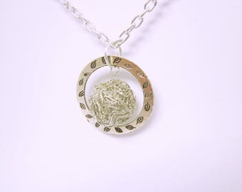 NECKLACE Silver Long Necklace Silver Two Sided Circle Wire Wrapped Silver Ball Sits In The Center Gift Ideas For Her Boho Chic Necklace