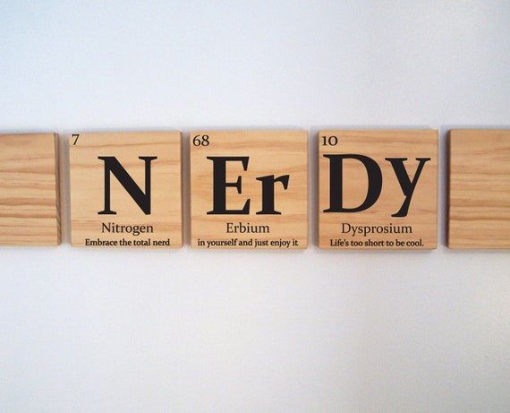 Nerdy wooden tile wall art with quote periodic table of urtaz Image collections