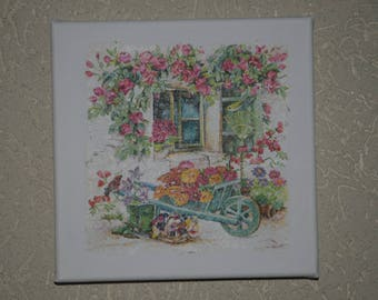 "Small painting, square, ""floral wheelbarrow"" theme"