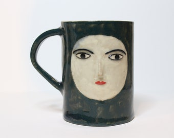 SALE Handmade Ceramic Green and White Mug with sculpted face