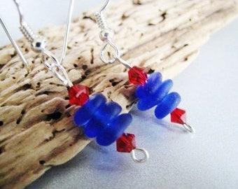 Cobalt Blue Earrings - Stacked Beach Glass - Red Crystals - Dangle Sea Glass Earrings - Prince Edward Island Pure Sea Glass - Ocean Jewelry