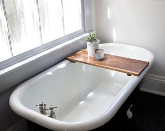 Modern Bathtub Tray - Walnut Wood Bath Tub Caddy Wooden Shelf Desk Gaming Board Clawfoot Smooth Tray Handmade