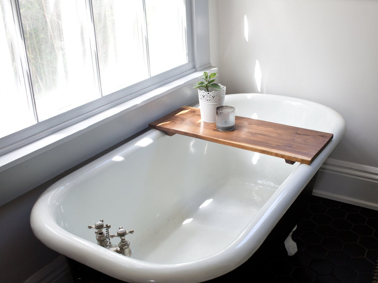 Modern Bathtub Tray Walnut Wood Bath Tub Caddy Wooden Shelf