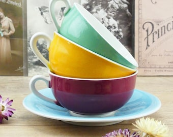 French Cups - Coffee Cups - Tea Cups - Sarreguemines Cups - 1930s Cups - Yellow Cup - Blue Cup - Green Cup - Pink Cup