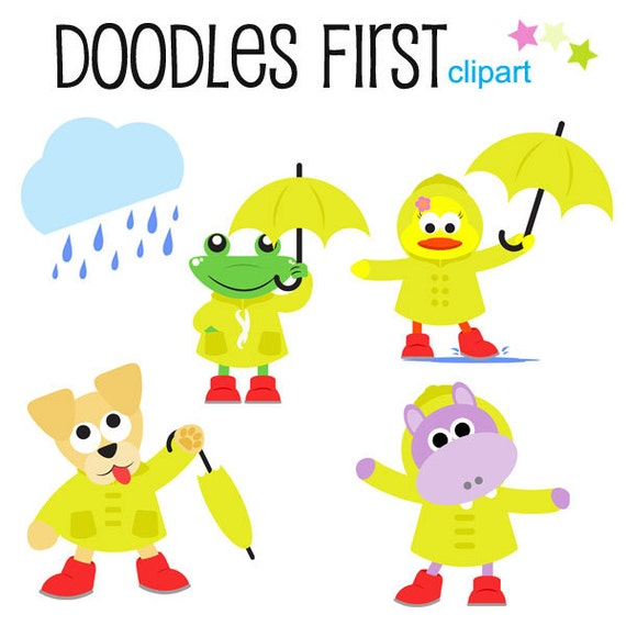 rainy day animals clipart digital clip art for scrapbooking rh etsy com rainy day clothes clipart rainy day clipart images