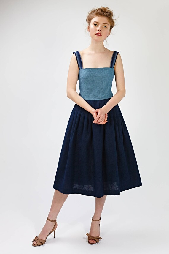 Marine Party-Kleid Navy Cocktailkleid Fit und Streulicht Block