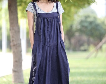 Overall Dress, maxi dress, pinafore dress, linen dress, suspender skirt, woman dress, plus size dress, linen overall, maxi dress C278