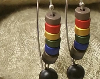 Sterling Silver Marquis wire Rainbow Earrings