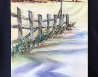 The Old Fence      12 x 18      Original Watercolor Batik