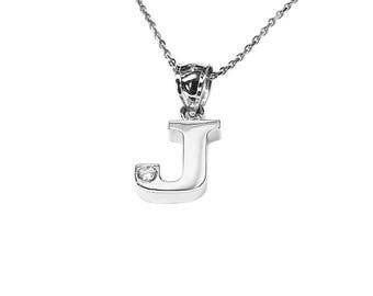 SNP07d Silver One Initial Name Necklace with a Diamond