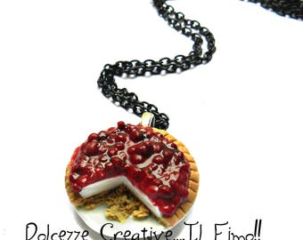 Necklace tart cherries in cream - miniature polymer clay and cernit gift idea