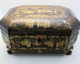 Superb LARGE 19th-Century (c1850) ANTIQUE Chinese Gilded Lacquered Wood Wooden Chinoiserie Table Box/Casket. Hand painted Decorations.