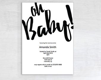 Simple Baby Shower Invitation,  Printable, Digital Download, Instant Download, PDF, Party Invite