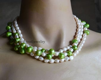 ivory and green pearl necklace, real freshwater pearl necklace, mixed color pearl necklace, wedding pearl necklace, statement necklace