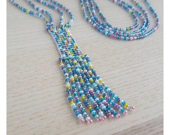 Necklace 79 cm Handmade Boho Hippie Czech Glass beads Seed beads seed beads Summer Festivals handmade Accessory Gift Gift