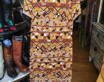 Retro 70's Poly Yellow Burnt Orange Black White Dress Size 10