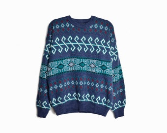 Vintage 90s Blue Geometric Sweater / 90s Ugly Sweater / 90s Cosby Sweater - men's large