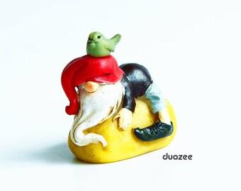 Miniature Fairy Garden Gnome with Bird, Miniature House, Fairy House, Gnome House