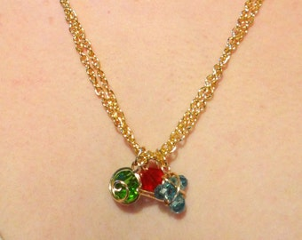 The L.O.Z.® Golden Double Chain Necklace with Spiritual Stones