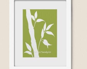 Bamboo Wall Art, 5 x 7 Lime Green Nature Print for Home Office Decor, Bedroom Bathroom Wall Art Print