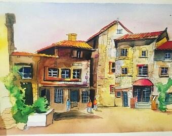 Watercolour medieval building