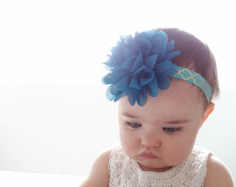Olivia--Teal and Gold Floral Headband