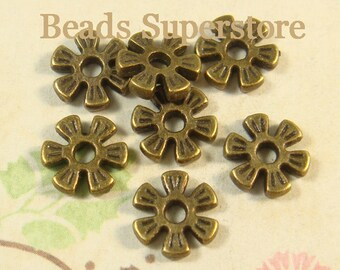 8 mm x 2 mm Antique Bronze Flower Spacer Bead - Nickel Free, Lead Free and Cadmium Free - 25 pcs