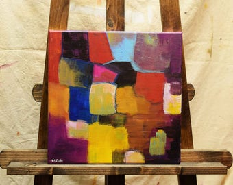 ORIGINAL Small Abstract Painting Blue Red Turquoise Yellow 10 x 10 Gallery Wrapped