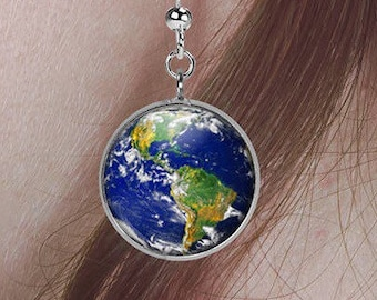 Planet Earth Earrings/ World Earrings/ Planet Earrings/Science Earrings/ Science Gift/ Globe Earrings/ Earth Day Earrings/ Geek Gift E96