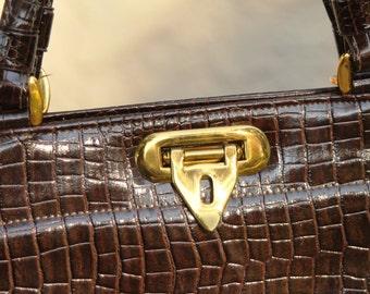 50s Croc Handbag - Embossed Croc - VINTAGE Top Handle - Crocodile Purse - Vintage Framed Handbag - Brown Purse - 1950s Housewife - Gold