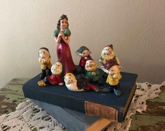 Vintage Cast Iron Snow White and the 7 Dwarves