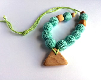 Mammy and baby teething crochet necklace, Teething necklace, Sling accessory, Necklace, Baby toy, Gift, Natural toy