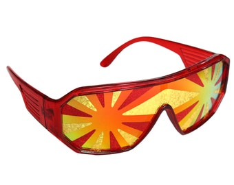 Rasslor Red Lava Flow Star Burst Sunglasses