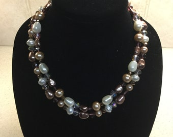 Pearl and Bronze Mixed Beaded Necklace