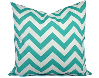 Two Indoor Outdoor Pillow Covers - 16 18 or 20 In - Aqua Pillow - Teal Pillow Cover - Patio Pillow - Turquoise Pillow - Chevron Pillow