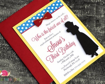 Snow White Birthday Party Invitations · A2 LAYERED · Red Yellow Royal Blue Gold · Fairy Tale | Princess | Storybook | Baby Shower Invites