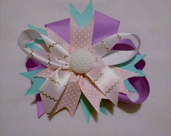 Lavender and Teal Hair Bow